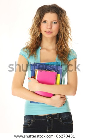 Student girl with books isolated