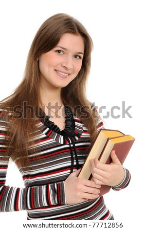 student girl with books on white background - stock photo