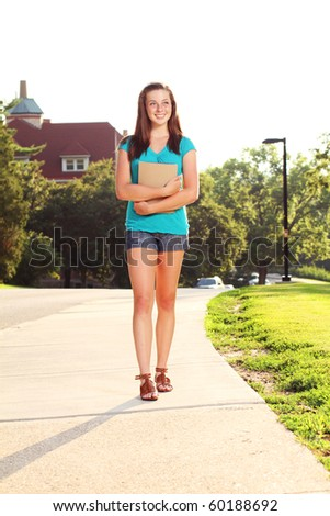 Student going to class