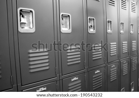Student Gym Lockers University School Campus Hallway Storage Locker College - stock photo