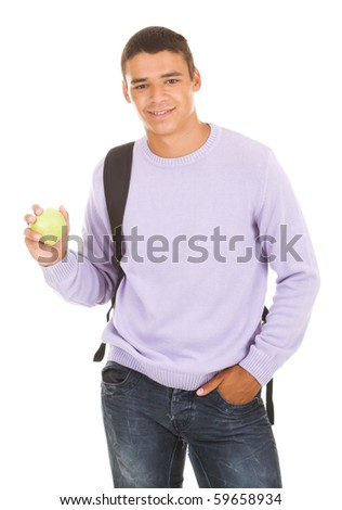 Student hold apple isolate on white - stock photo