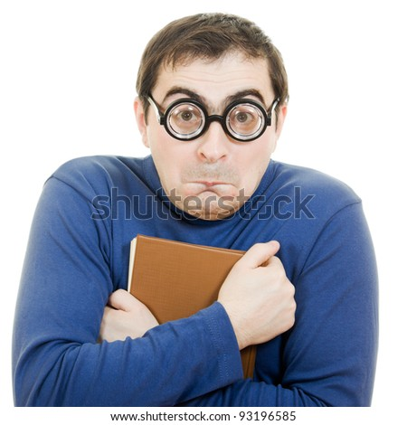 Student in glasses carefully pressed to his breast a book on white background - stock photo