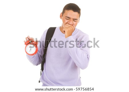 Student isolate on white - stock photo