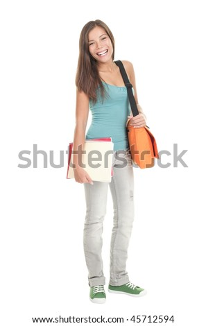 Student. Isolated full body portrait of a beautiful young asian female student. Beautiful smiling mixed race caucasian / chinese young woman model. - stock photo