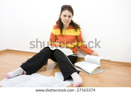 student learning for an exam - stock photo