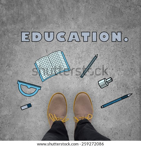 student leg standing on floor with education symbol - stock photo