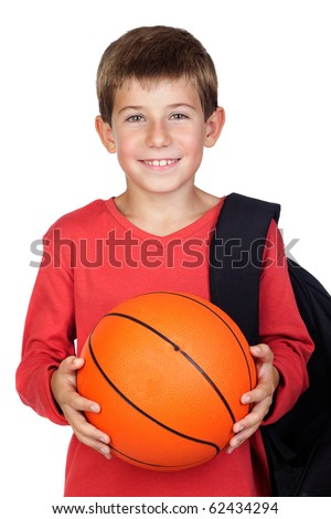 Student little child with blond hair isolated on white background - stock photo