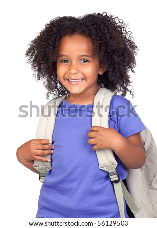 Student little girl with beautiful hairstyle isolated over white