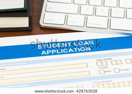 Student Loan Application Form Keyboard Text Stock Photo