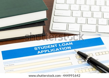 Student Loan Application Form Pen Keyboard Stock Photo