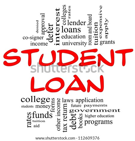 Student Loan Word Cloud Concept in red and black letters with great terms such as students, education, tuition, grants, application, college, loans and more. - stock photo
