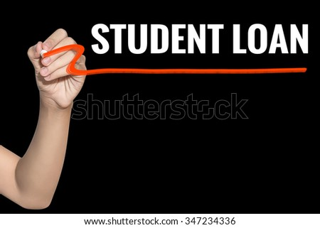 Student Loan word write on black background by woman hand holding highlighter pen - stock photo