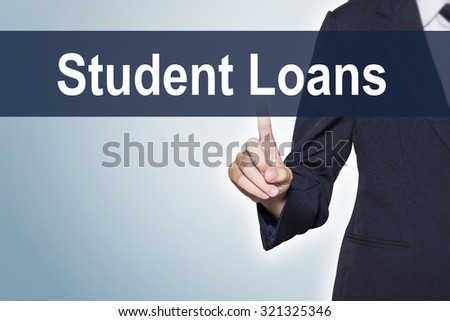 Student Loans Business woman pushing hand on virtual screen for e-commerce background - stock photo