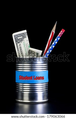 Student loans tin can with cash savings. - stock photo