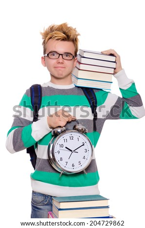 Student missing his deadlines isolated on white - stock photo