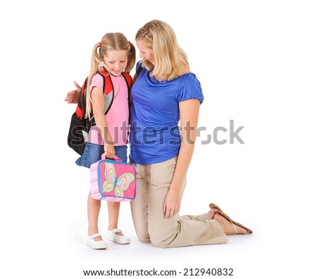 Student: Mother Sad To Send Child Off To First Day Of School - stock photo
