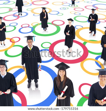 Student Network: Diverse Graduating Students in Circles - stock photo