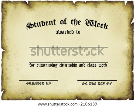 Student of the Week Certificate - stock photo