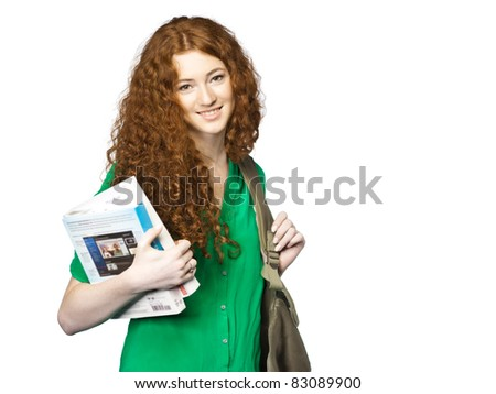 Student On white background - stock photo