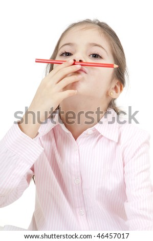 student play with pencil - stock photo