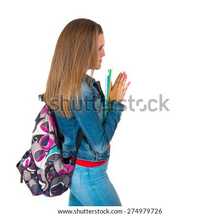 Student pleading over white background - stock photo