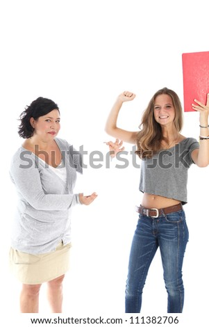 Student reacting in jubilation to results Beautiful young female student reacting in jubilation to her results being presented on a blank sheet of paper by her teacher - stock photo