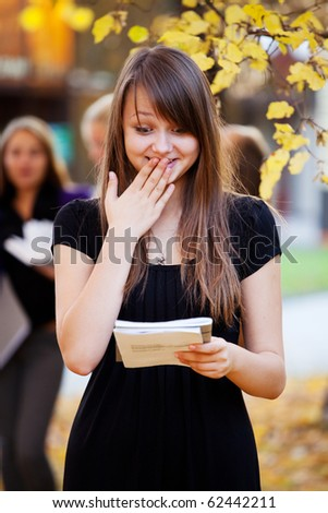 Student shocked by the results of the test - stock photo
