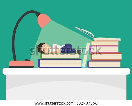 Student sleeps on book under light of lamp. Flat illustration about deep sleep. Bluish green background.  - stock photo