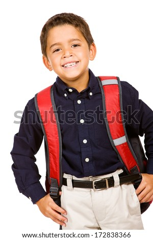 Student: Smiling Boy Wearing Backpack