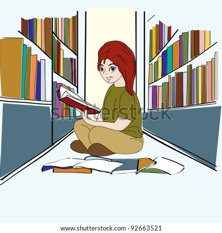 Student Study in the Library - stock photo