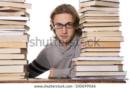 Student Studying for Exams - stock photo