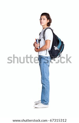 student textbook satchel, isolated on white  background