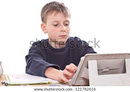 student to do homework at a table on a white background
