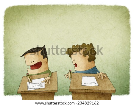 student trying to cheat at exam - stock photo