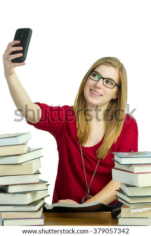 Student using cellphone instead of studying