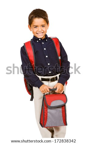 Student: Wearing Backpack and Holding Lunchbox