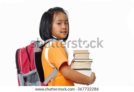 Student with backpack holding book on white Student with backpack holding book on white