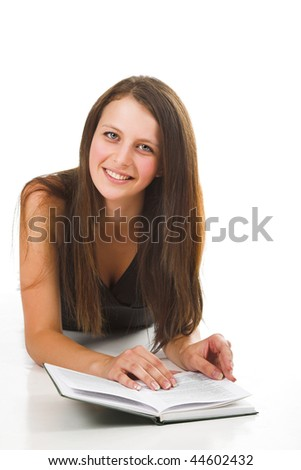 student with book on white background