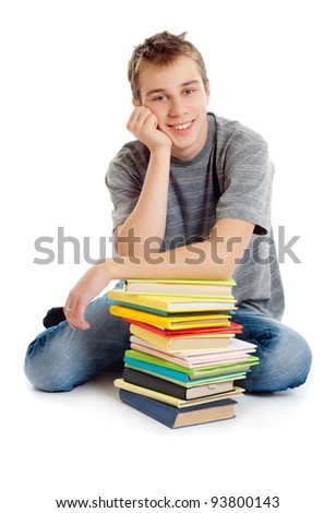 Student with books. White background - stock photo
