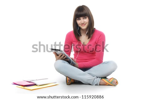 student with digital tablet. - stock photo