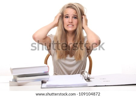 Student With Her Books - stock photo