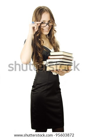 Student with textbooks in her arm isolated - stock photo