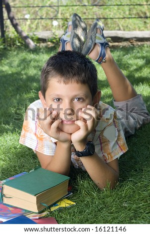 Student with the books  outdoor - stock photo