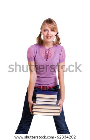 Student with the stack of book. - stock photo