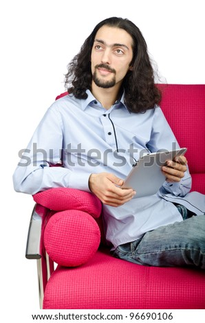 Student working on tablet computer - stock photo