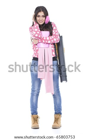 student young girl ready to go to school - stock photo