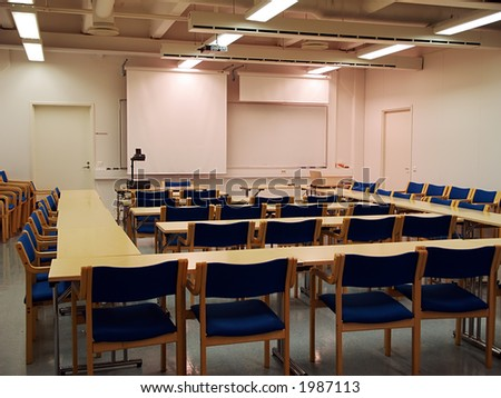 Students auditorium ready for lecture, view - stock photo