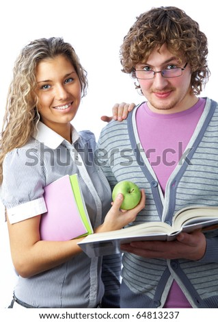 students: boy and  girl with notebooks and books smiling on white background - stock photo