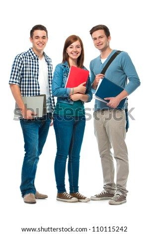 students/friends standing together on a white background - stock photo