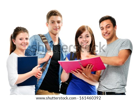Students friends standing together on a white background